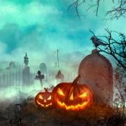 Pumpkins in Graveyard