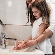 Mother & Daughter Washing Hands
