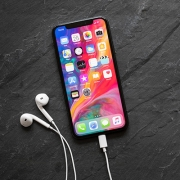 iPhone X with earphones