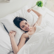 Girl Waking up Happy