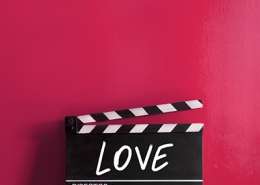 Love text title on film strip