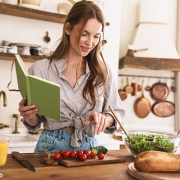 Lady Cooking in Kitchen
