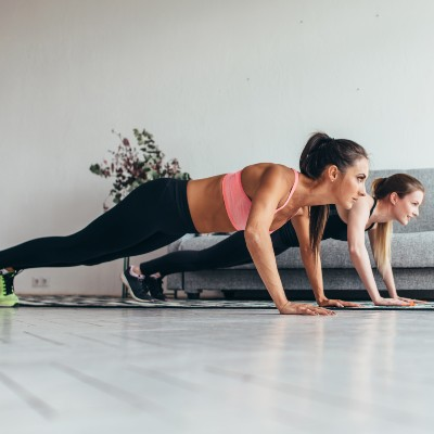 Two Girls Working Out at Home