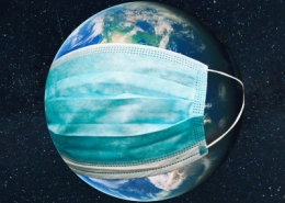 Earth Wearing Mask
