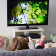 Girl Watching Movie on Couch