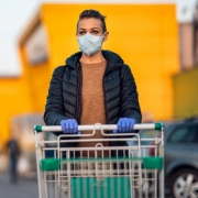 Woman Shopping in Mask and Gloves