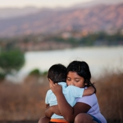 Immigrant Children Hugging