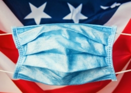 US Flag with Face Mask