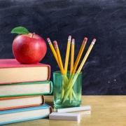 Apple with School Books