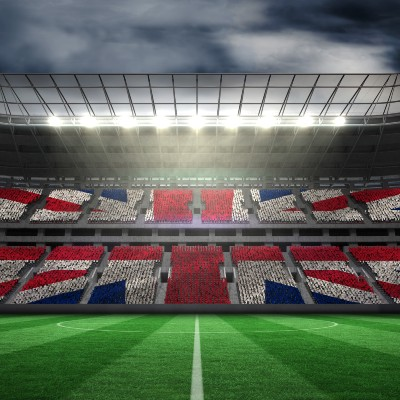 UK Flag on Sports Field