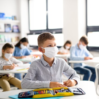 Children in School with Face Masks