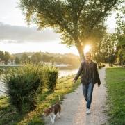 Man Taking Dog for Walk