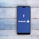 Facebook App on Wood Background
