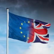 UK EU Flags Waving